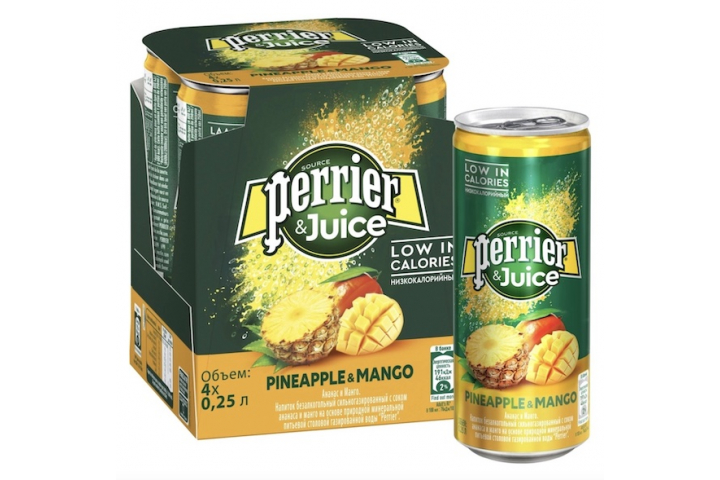 Газированный напиток Perrier Ананас-манго, ЖБ 0.25 литра