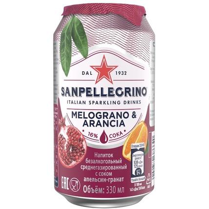 Напиток газированный Sanpellegrino с соком граната и апельсина, 0.33 литра