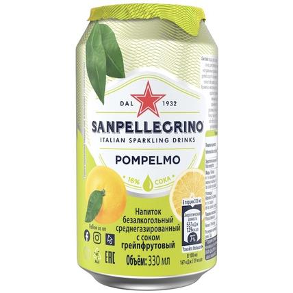 Напиток газированный Sanpellegrino с соком грейпфрута, 0.33 литра
