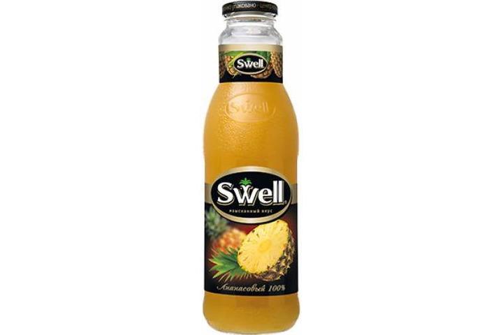 Сок СВЕЛЛ (SWELL) Ананас с мякотью стекло 0.75 литра